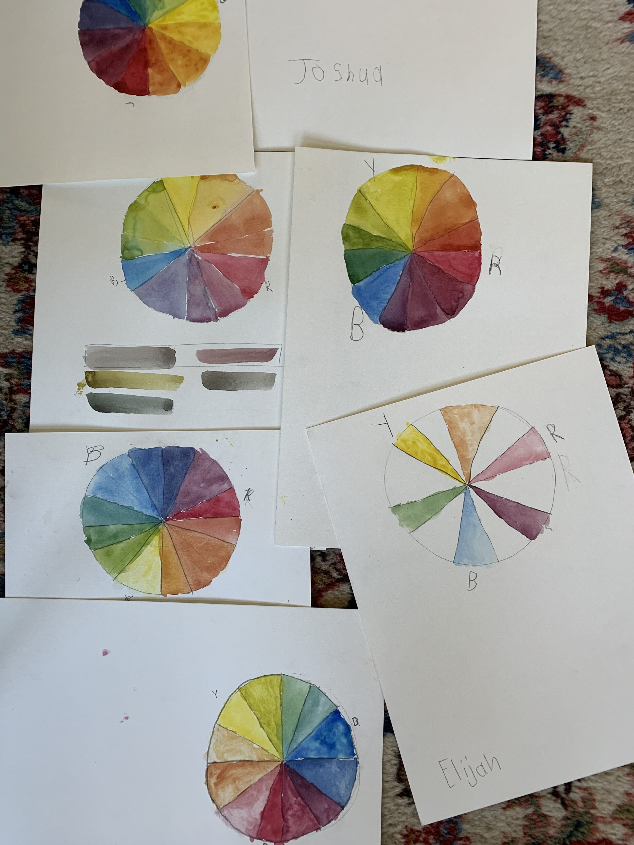 After the color wheel is finished, I show the students the brilliant blacks and browns that can be made using three colors.