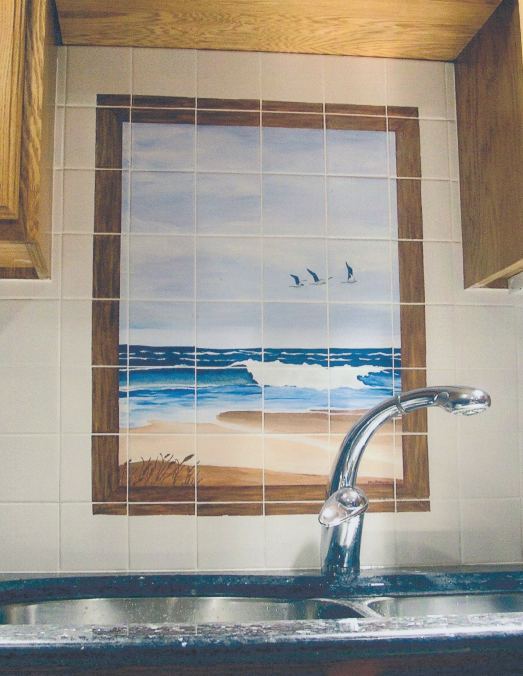 Trompe l'oeil, acrylic on tile