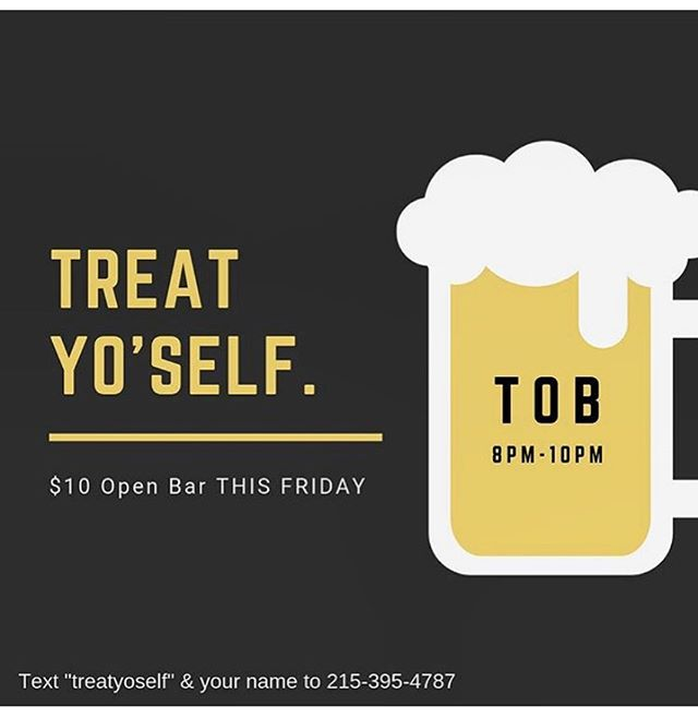 It's friday so that means TREAT 👏🏻 YO 👏🏻 SELF 👏🏻 Come start the weekend with us. From 8-10 $10 open bar!