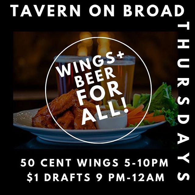 EVERY THURSDAY AT TOB- 50 cent wings from 5-10 and DOLLAR DRAFTS from 9-12. What could make your #thirstdaythursday any better??