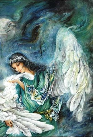 """In Persian mythology, Peri are exquisite winged like creatures who are not quite angels, and not quite evil spirits. They are sometimes referred to as fairies or spirits and are revered as beautiful and kind creatures even though they live between chaotic good and chaotic evil. Some literature implies that """"the Peri"""" represent the soul. - Ebrahim Soufiani interprets the poem by Rumi in his book The Lost Key, An Exploration into Persian Literature, as meaning that the Peri live in the soul of humanity and are why we have thoughts, illusions, images, and dreams. Illustrations of the Peri almost always include a fountain as representative of the essence of life. Peri are the expression of the gentility, originality, or purity of humanity. They are our spirit."""