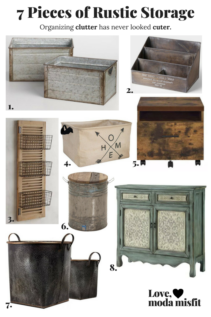 1.   Galvanized Metal Walter Storage Bins @ World Market  //  2.   Embossed Metal St. Laurent Desk Organizer @ World Market  //  3.   Westview 3-Basket Over-the-Door Organizer @ Pier1  //  4.   Extra-Large Storage Basket @ Amazon  //  5.   Weathered Oak Bob File Cabinet @ Pier1  //  6.   Metal Gray Drum Accent Table @ Target  //  7.   Galvanized Metal Baskets With Detail @ Target  //  8.   Powell Hannah Console @ Overstock