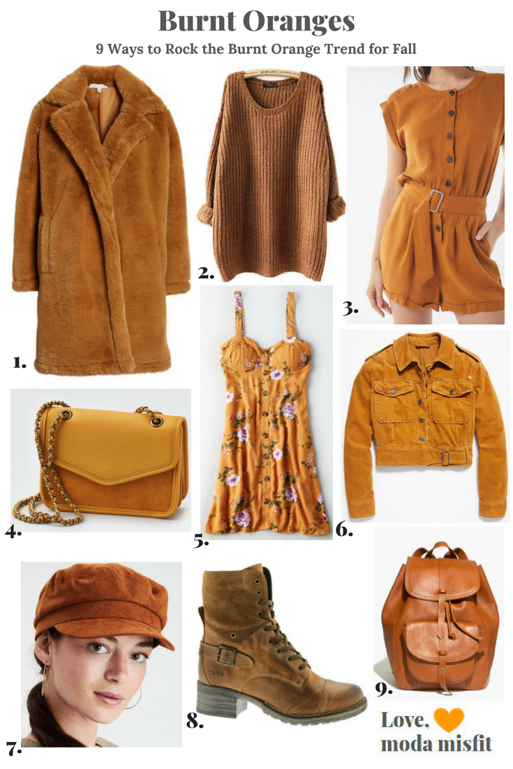 This trend board makes me feel like I'm visually drinking a cinnamon dolce latte.    1.   Faux Fur Teddy Coat by Woven Heart @ Nordstrom  //  2.   Women's Fashion Oversized Knitted Crewneck Casual Pullovers Sweater by ARJOSA @ Amazon.com  //  3.   UO Julie Linen Button-Down Romper @ Urban Outfitters  //  4.   AEO Mini Crossbody Bag @ American Eagle  // 5 .   AE Button-Front Corset Dress @ American Eagle  //  6.   Everlyn Jacket @ Free People  //  7.   AEO Sueded Baker Boy Cap @ American Eagle  //  8.   Crave Boot by TAOS @ Nordstrom (in Camel Leather)  //  9.   The Transport Rucksack @ Madewell