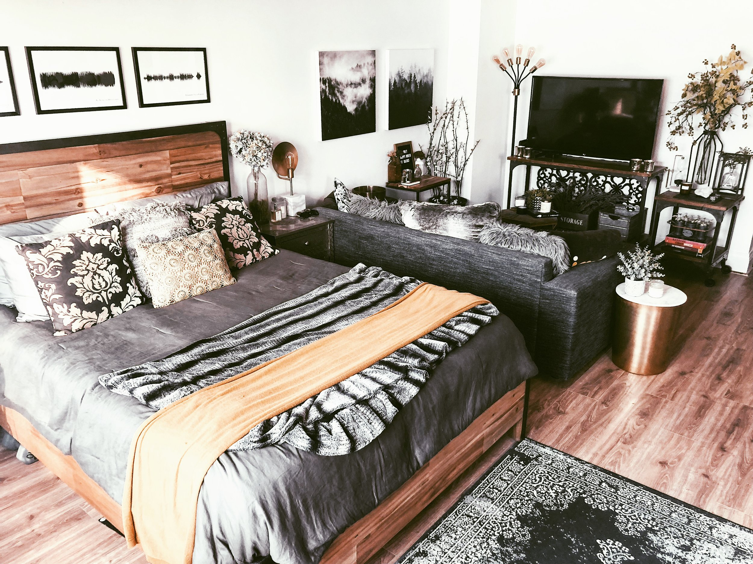 My rustic oasis of a studio apartment.