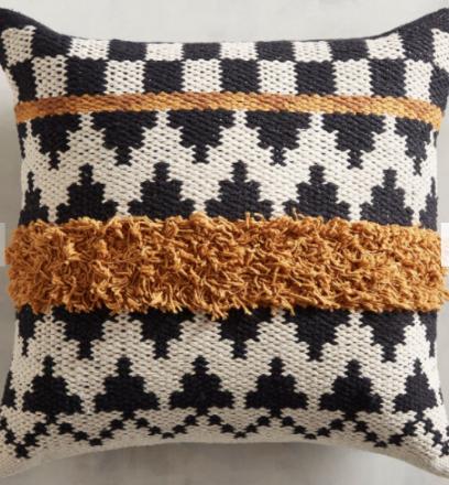 Tufted Ochre Striped Pillow @ Pier 1