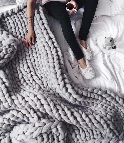 Merino Wool Chunky Knit Blanket @ Etsy