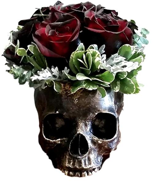 Ebros Gift Bronzed Day Of The Dead Skull Bowl Figurine @ Amazon