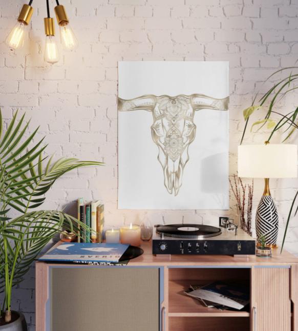 Bull Skull Gold Poster by Nature Magick @ Society6