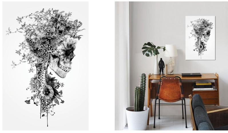 'Floral Skull Series: Skull B&W' Graphic Art Print on Canvas @ Wayfair