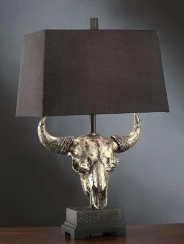 Master Of The Prairies Western Bull Skull Table Lamp @ Ebay