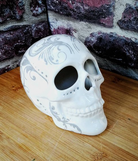 Hand Painted Ceramic, Skull Ornament by Weird and Wonderful Ceramics @ Etsy