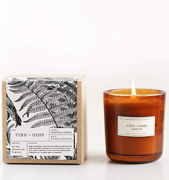 fern and moss amber glass candle brooklyn candle studio