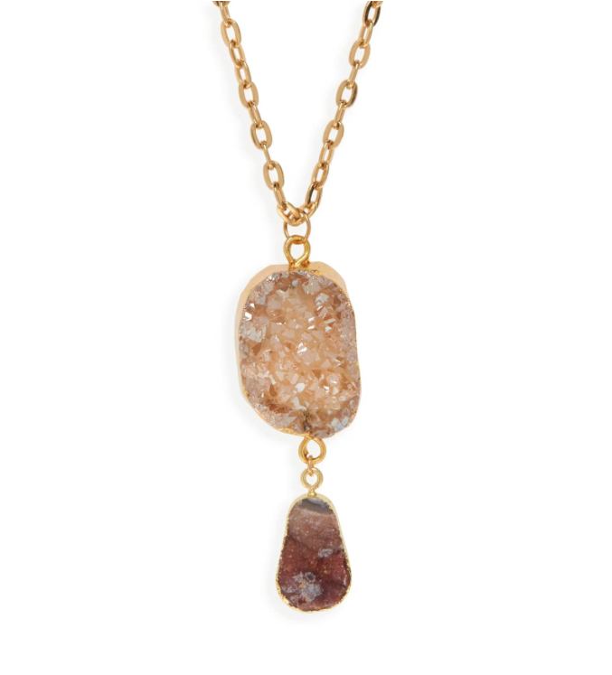Drusy Double Stone Pendant Necklace.png