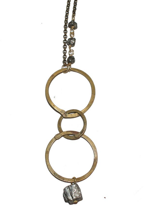 Three Ring Brass and Pyrite Long Layering Necklace