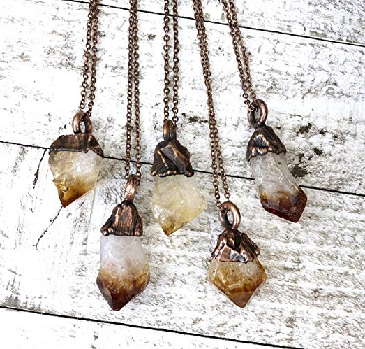 Raw Citrine Crystal Pendant Necklace Small Yellow Stone Boho Layering Jewelry.png