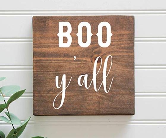 Boo Y'all Rustic Farmhouse Halloween Fall Wood Sign