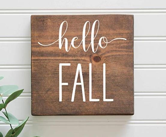 Hello Fall Rustic Wooden Farmhouse Sign