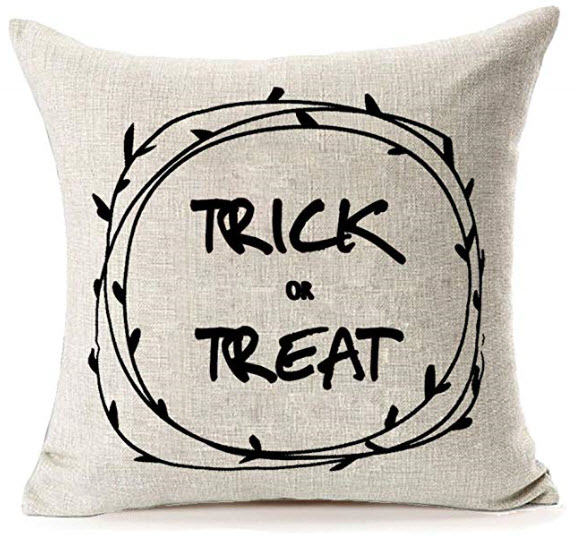 Halloween Home Decor Trick or Treat Cotton Linen Pillow Cover.jpg