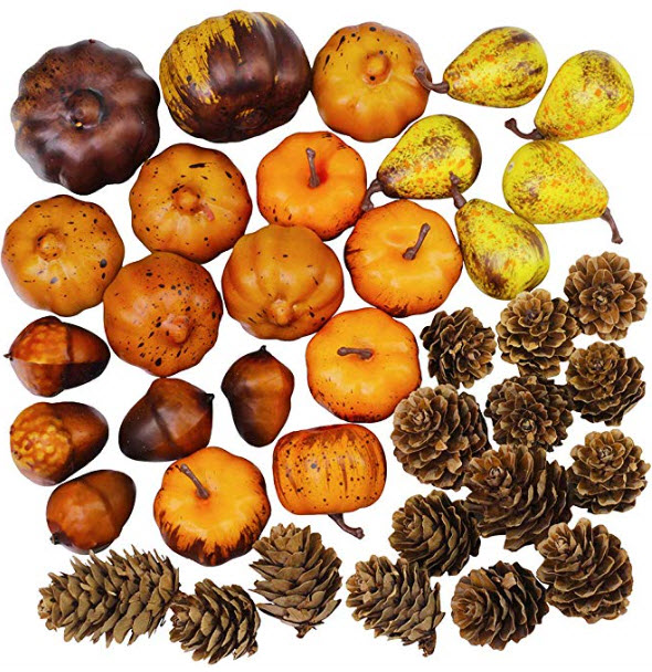 Miniature Artificial Pumpkins and Gourds Pine Cones Acorn Rustic Decoration Crafts for Fall.jpg