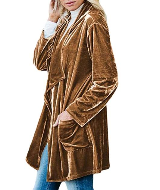 Lovezesent Womens Drape Velvet Jacket Open Front Cardigan Coat with Pockets.jpg