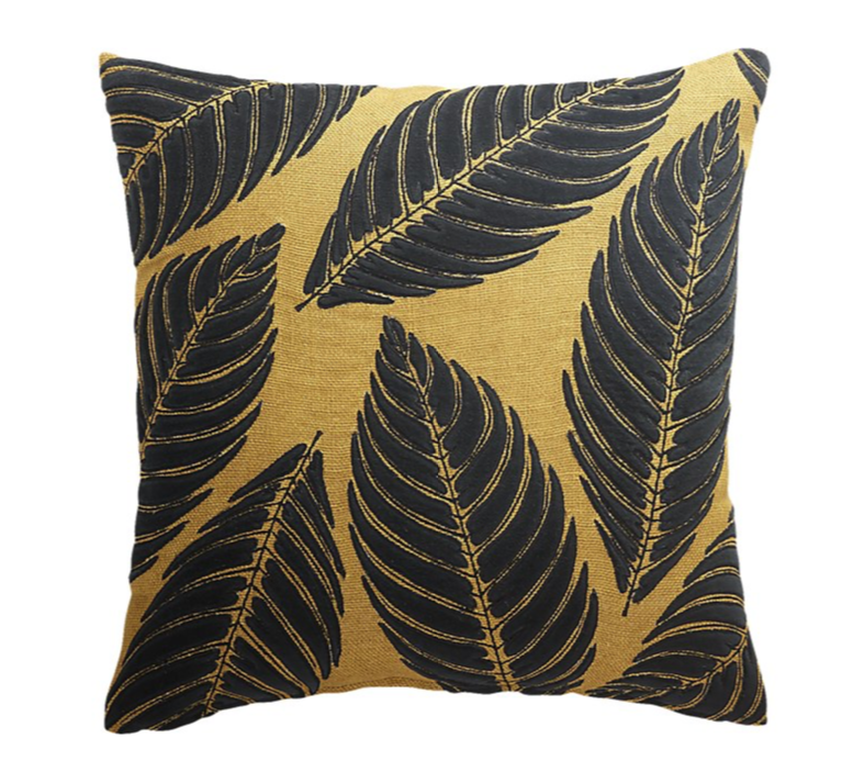 CB2 Frond Mustard Jute and Velvet Pillow