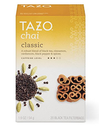Tazo Classic Chai Black Tea Filterbags , 20 Count (Pack of 6)