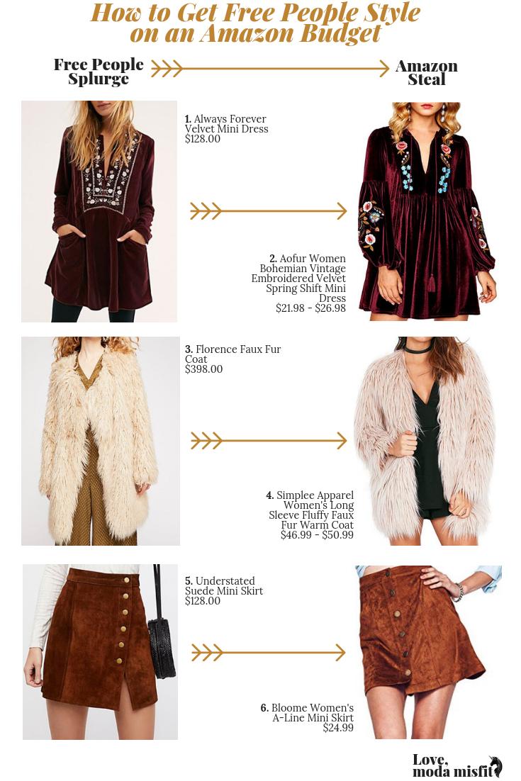 1.    Always Forever Velvet Mini Dress    // 2.    Aofur Women Bohemian Vintage Embroidered Velvet Spring Shift Mini Dress    // 3.    Florence Faux Fur Coat    // 4.    Simplee Apparel Women's Long Sleeve Fluffy Faux Fur Warm Coat    // 5.    Understated Suede Mini Skirt    // 6.    Bloome Women's A-Line Mini Skirt