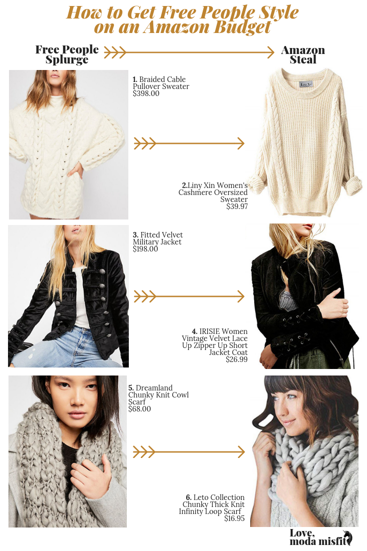 1.    Braided Cable Pullover Sweater    // 2.    Liny Xin Women's Cashmere Oversized Sweater    // 3.    Fitted Velvet Military Jacket    // 4.    IRISIE Women Vintage Velvet Lace Up Zipper Up Short Jacket Coat    // 5.    Dreamland Chunky Knit Cowl Scarf    // 6.    Leto Collection Chunky Thick Knit Infinity Loop Scarf
