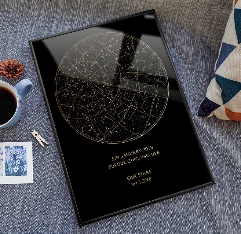 Real gold foil custom night sky print framed star map digital personalised poster.png