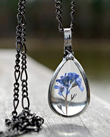 Handmade Pressed Real Flower Pendant, Blue Forget Me Not