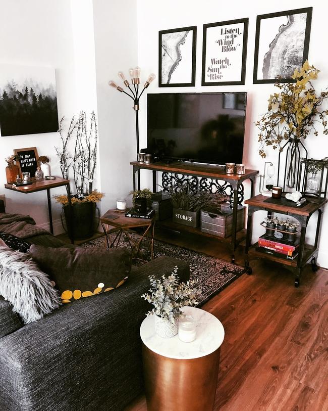 Rustic living room decor in downtown studio apartment.