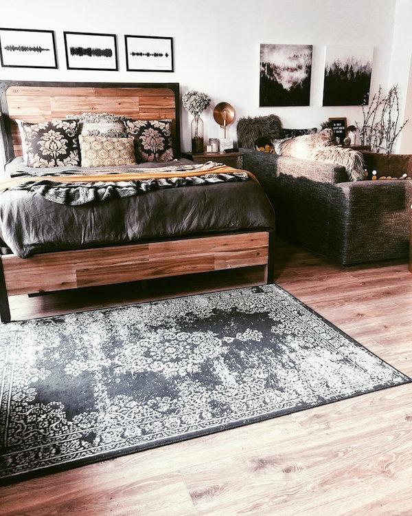 Rustic bedroom decor in downtown studio apartment.