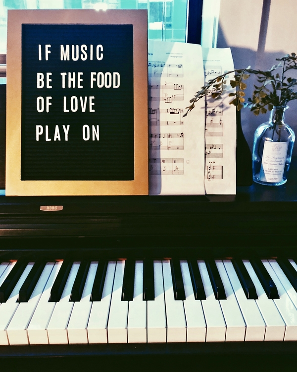 """If music be the food of love play on"" - Twelfth Night. Shakespeare letter board quote."
