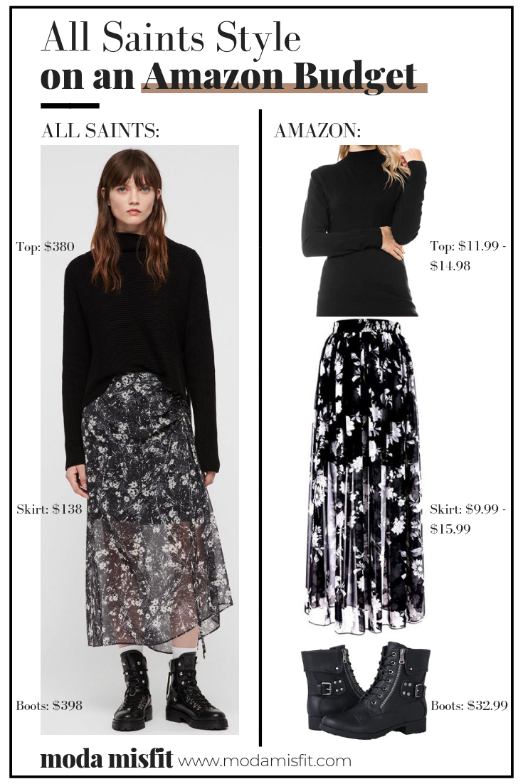 All Saints top  //  All Saints skirt  (now sold out) //  All Saints boots    Amazon top  //  Amazon Skirt  //  Amazon boots