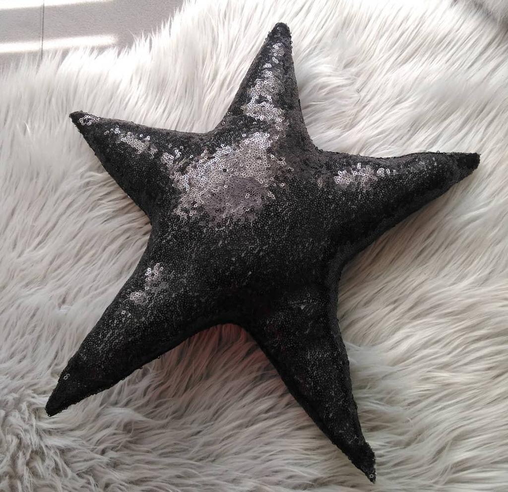 Etsy - Black Sequin Star Throw Pillow