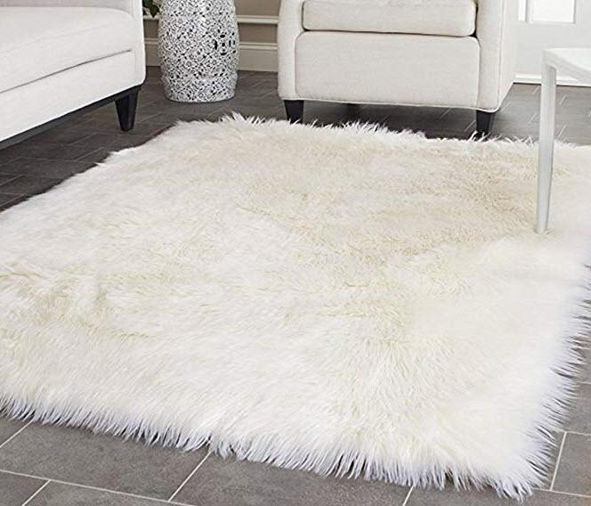 Amazon - Faux Silky Deluxe Sheepskin Area Shag Rug
