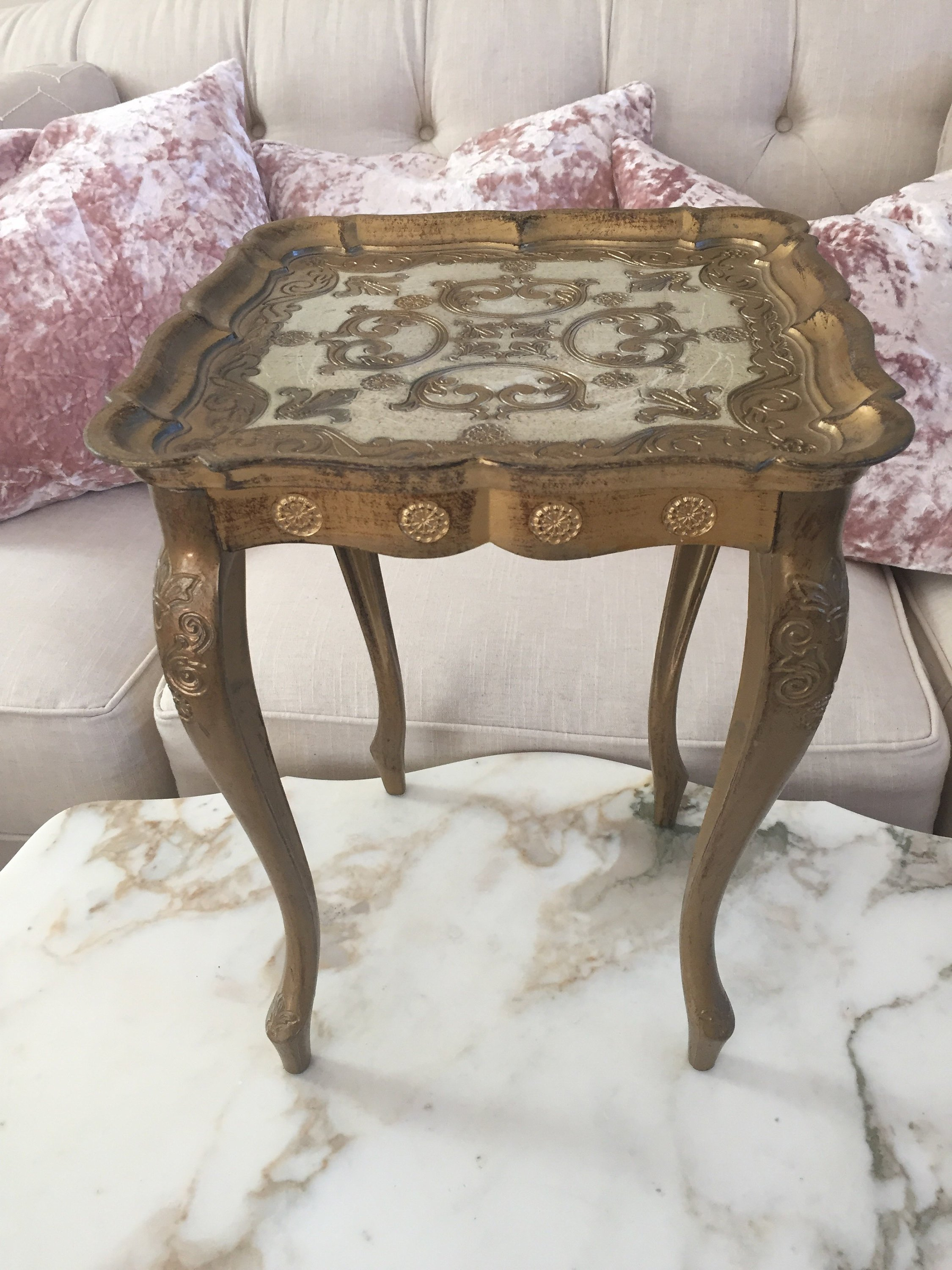 Etsy - Small Italian Florentine Plastic Table Golden Side End Accent