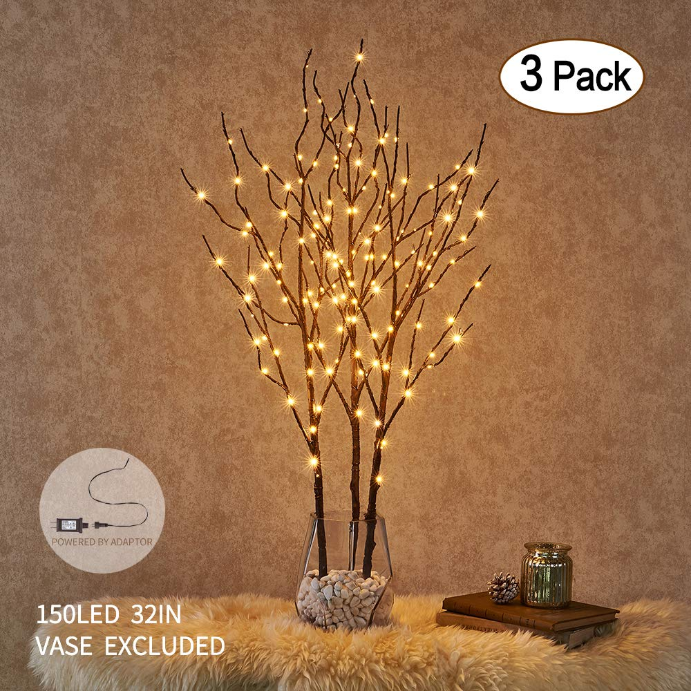 Amazon - Hairui Lighted Willow Branches Brown with Fairy Lights
