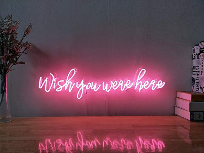 Amazon - Wish You Were Here Real Glass Neon Sign