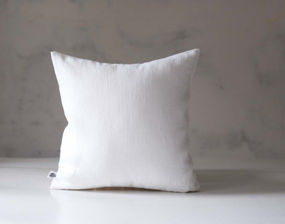 Etsy - White Linen Pillow Cover