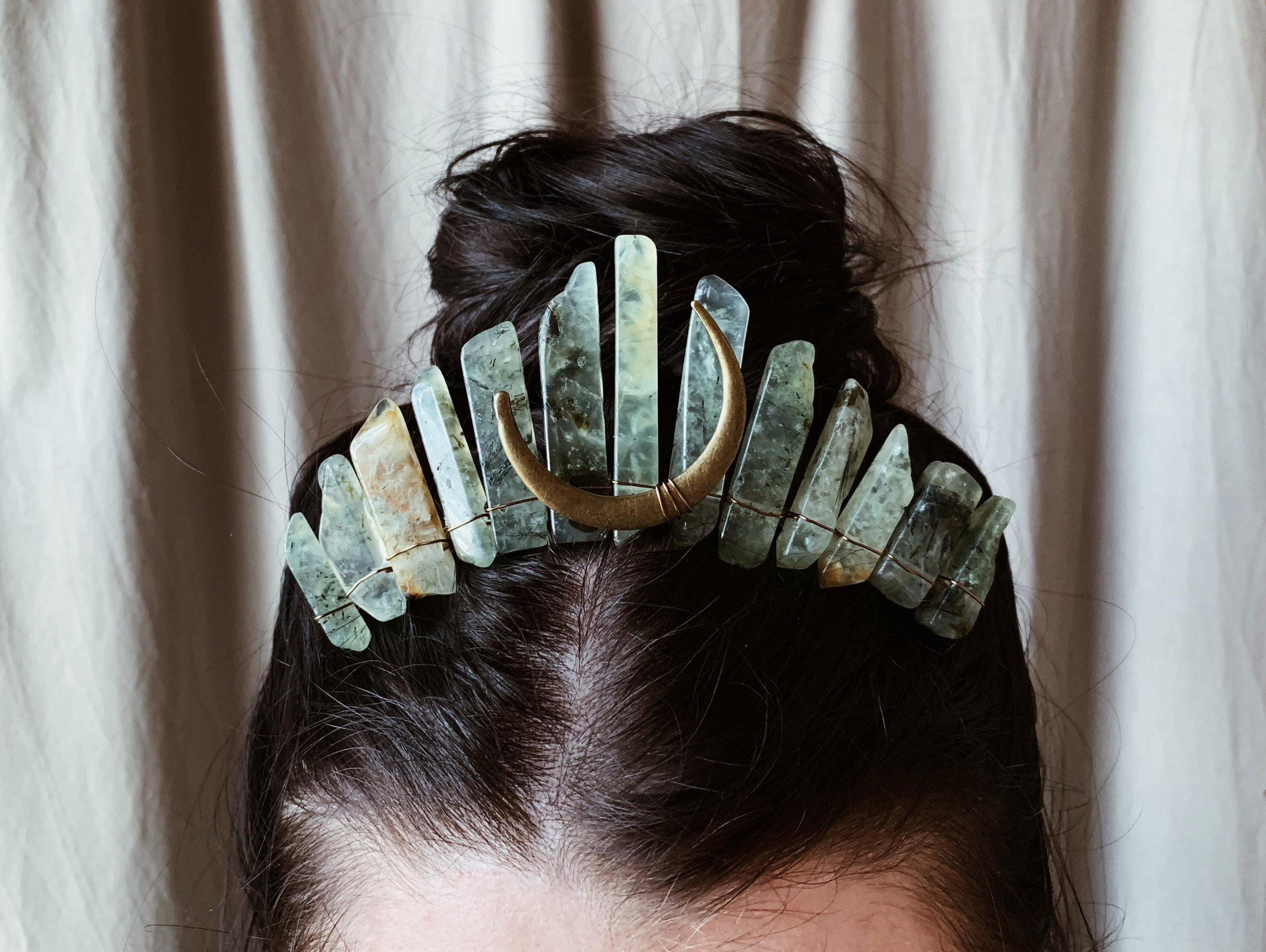 Evergreen Moon Crystal Crown - natural green prehnite stone tiara, magical witchy moon headpiece, mystical fantasy boho hair comb crown
