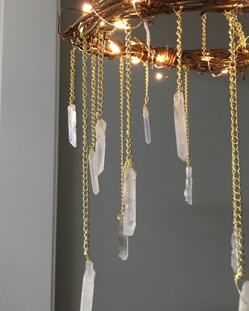 Crystal Mobile- Crystal Point Bohemian Mobile- Quartz Point Crystal Chandelier - Rustic Lighted Chandelier- Bohemian Home Decor