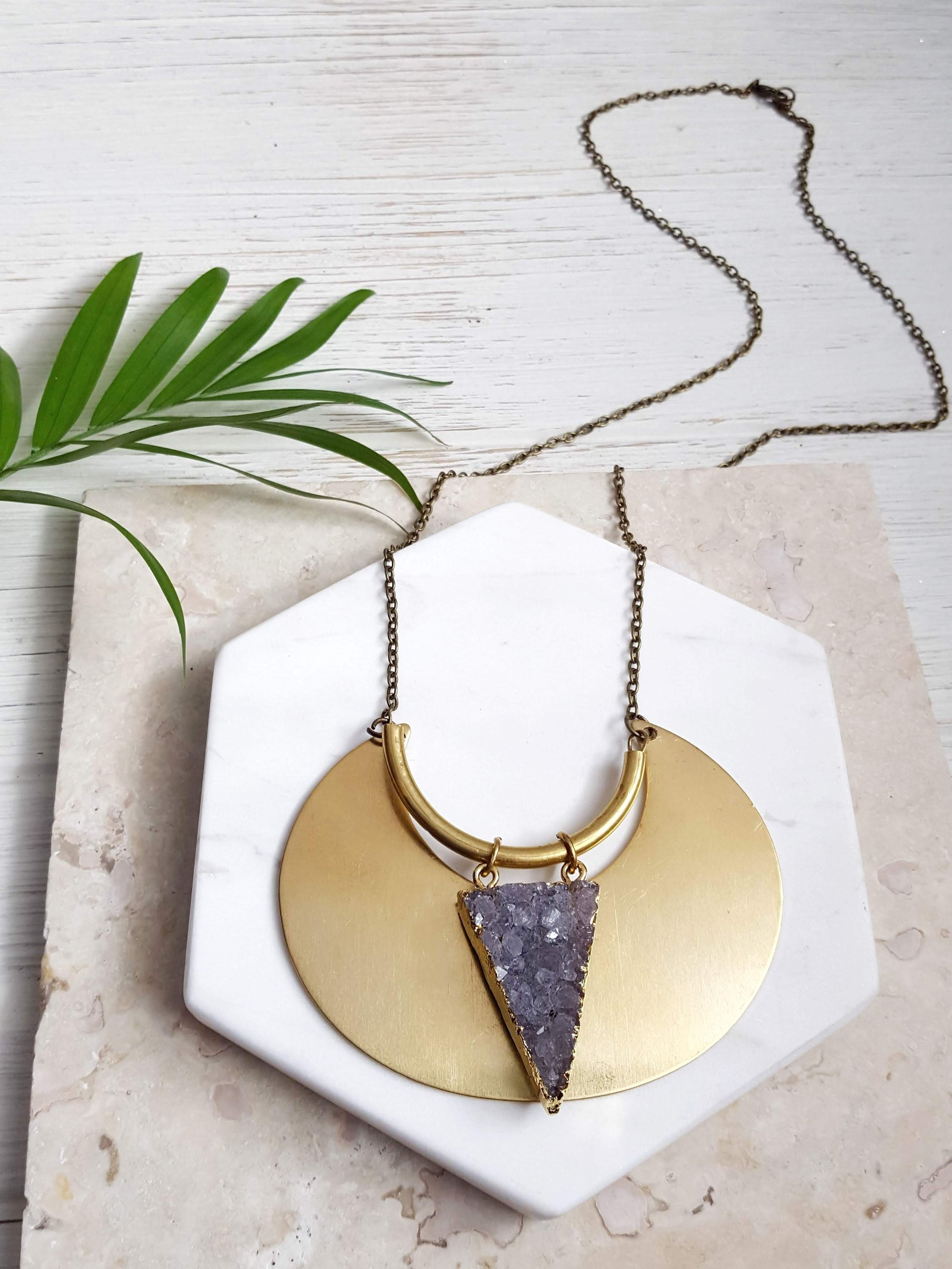 Large Brass Moon Necklace Crescent Necklace Crescent Pendant Moon Statement Necklace Raw Stone Necklace Raw Crystal Necklace Raw Amethyst.jpg