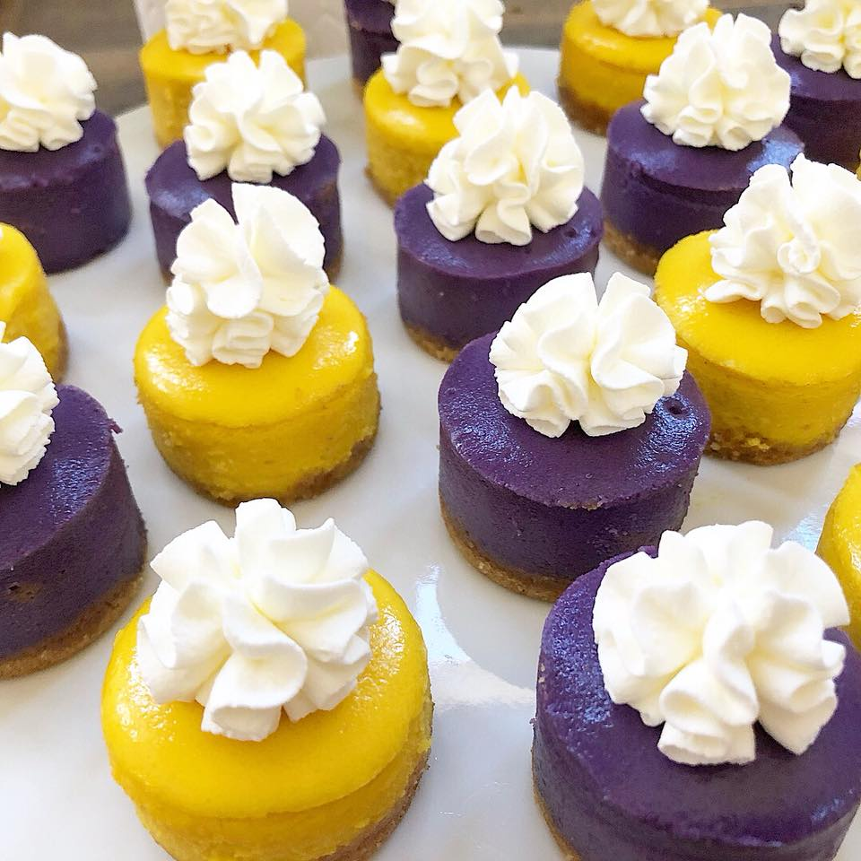 MINI CHEESECAKES - Don't want to eat a whole cheesecake, but just want a slice? These bite-sized treats will leave you satisfied. Made with your classic cream cheese, or try a mango or ube cheesecake for an exotic, tasty treat. Great