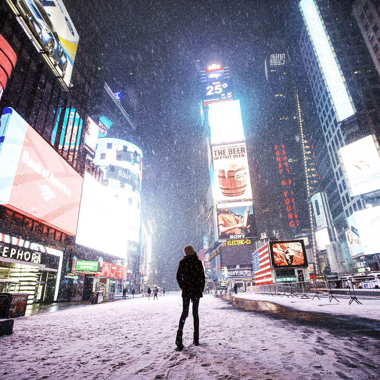 Times Square Snow Storm Blizzard NJ NYC New Jersey New York City