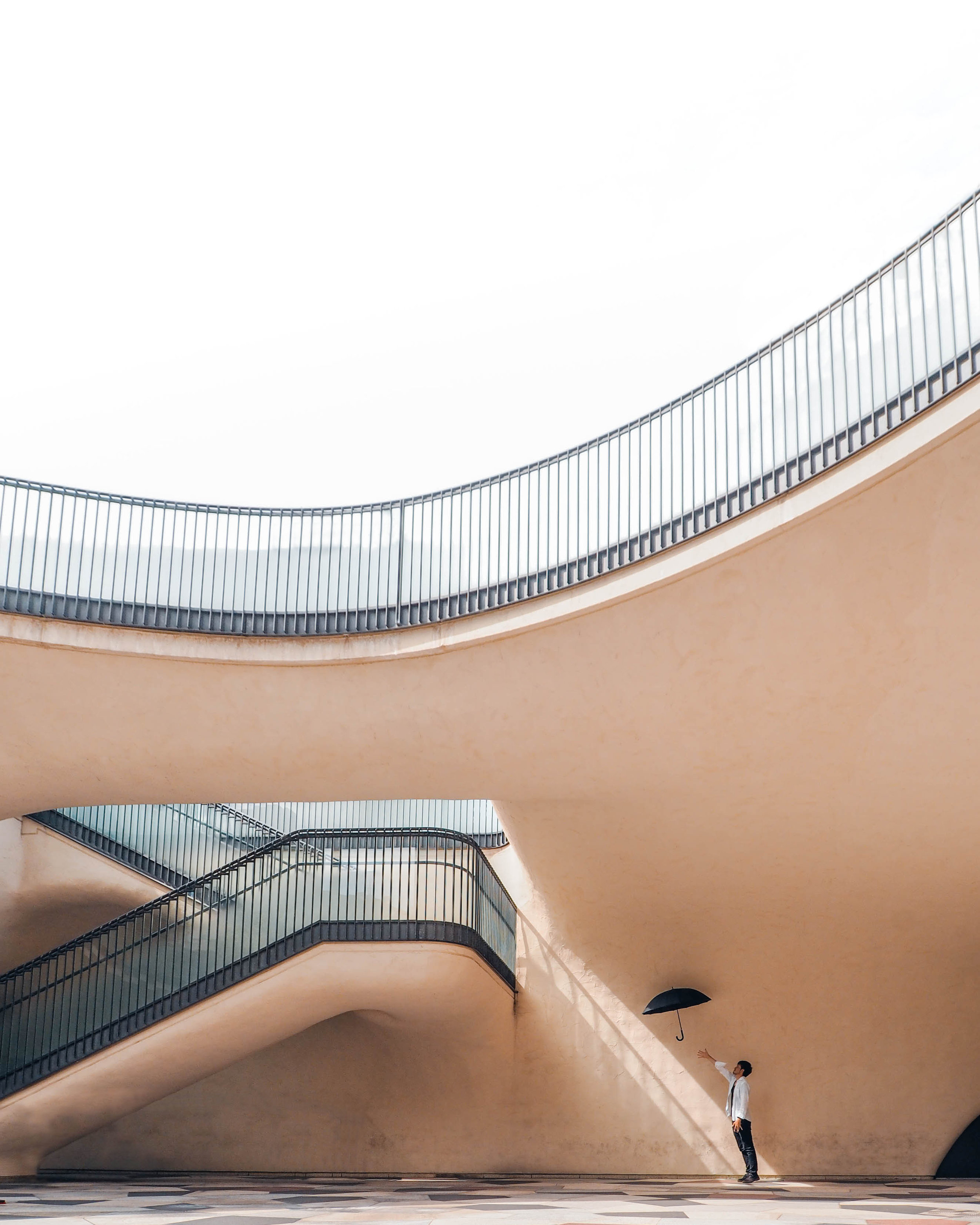 Berlin Stairs Urban Architecture Germany Pink Umbrella