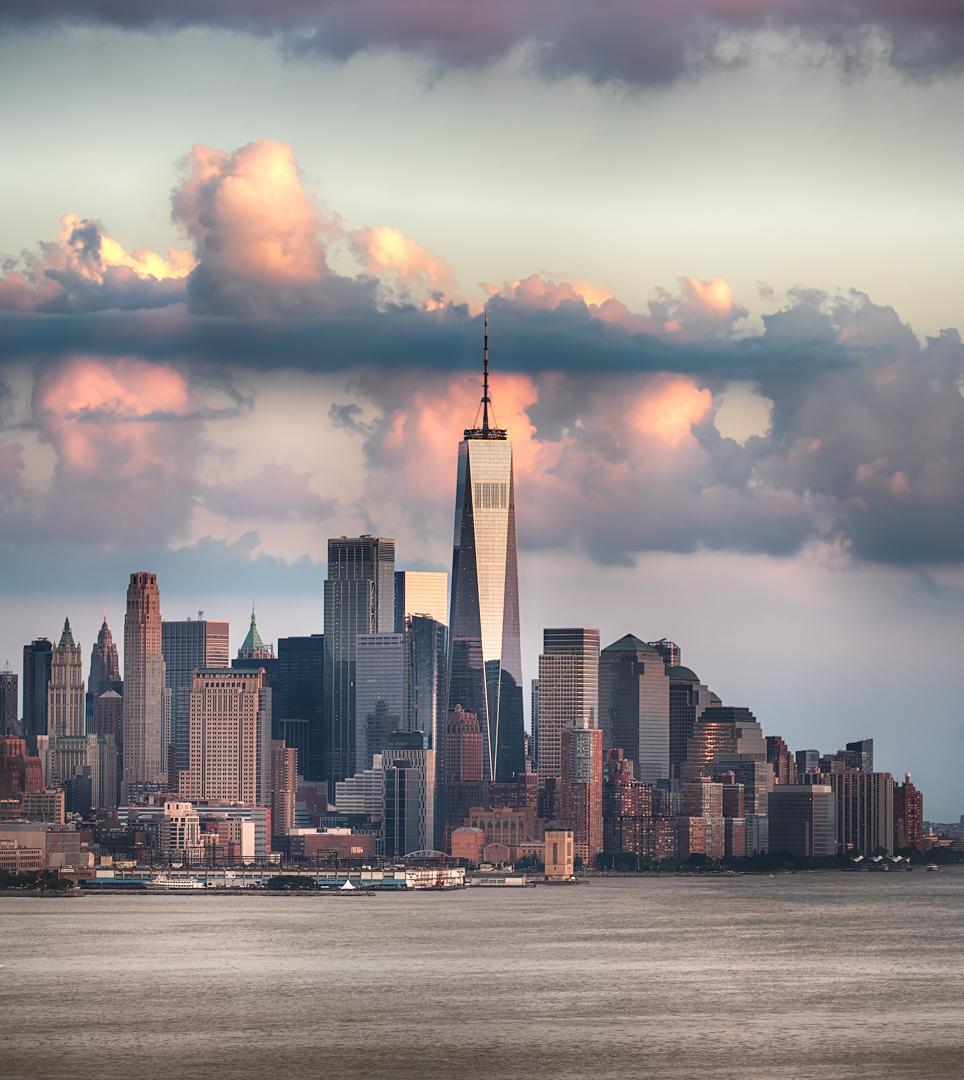 Downtown Manhattan One World Trade Center Sunset Hudson.jpeg