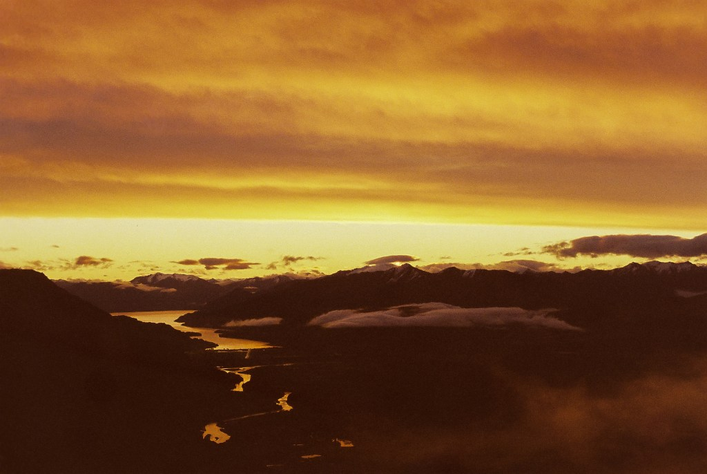 Intense Sunset from Crown Peak, New Zealand South Island