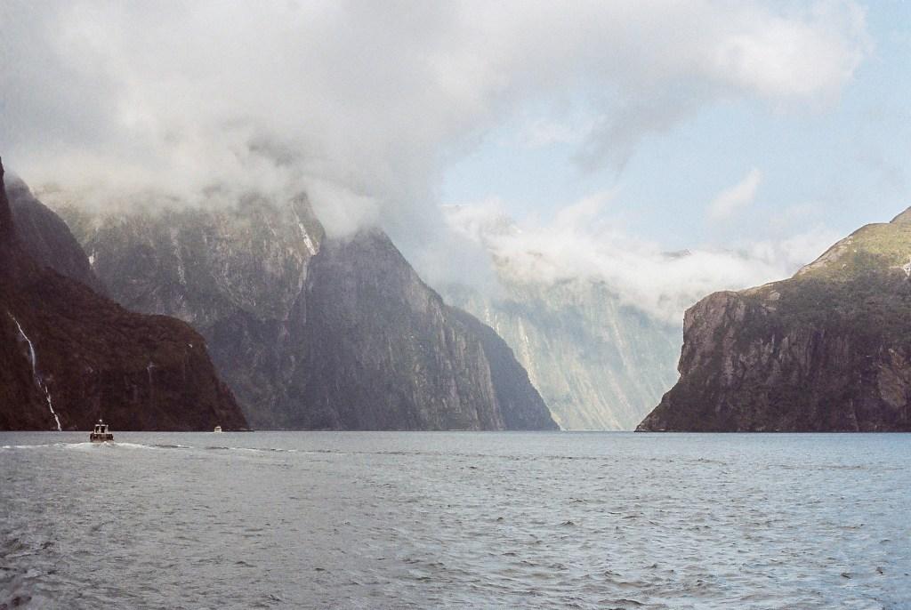 Enjoying a Cruise through Fiordland National Park, New Zealand South Island