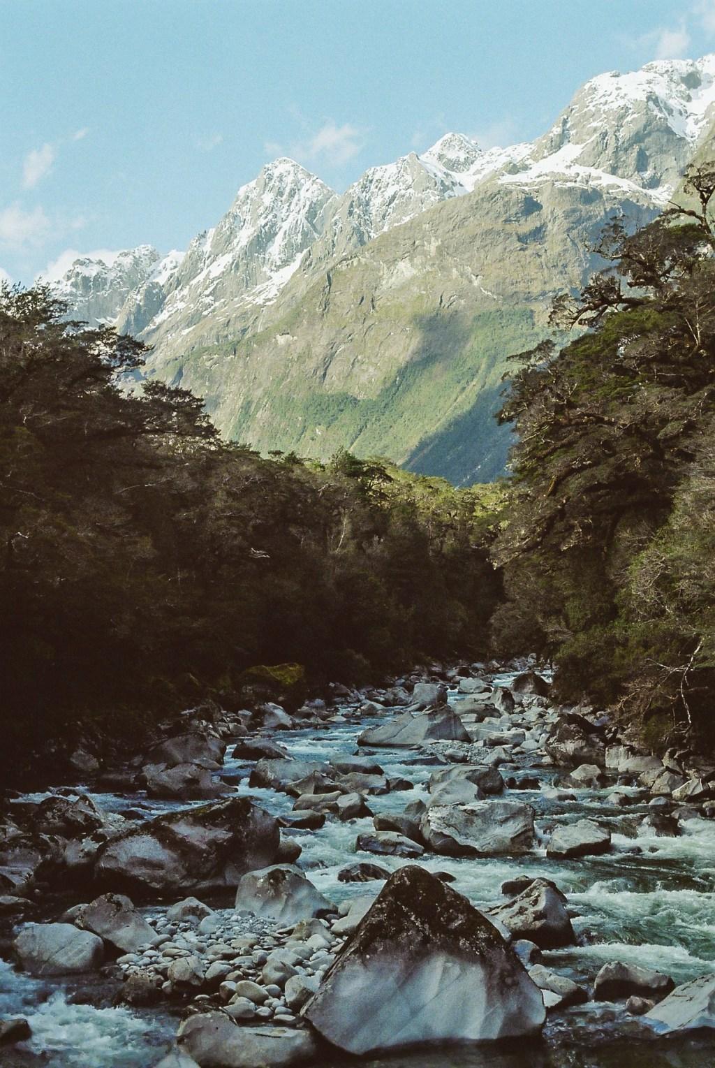 Strange Triangular Rock in Fiordland National Park, New Zealand South Island